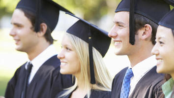 Smiling students accelerated degree graduation
